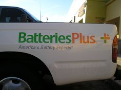 #vehiclegraphics #vehiclewraps #vehiclelettering #installationservices #vehiclegraphicsdesigns #SignaramaColorado #Signs #colorado Vehicle graphics and vinyl lettering for tailgate for Batteries Plus Truck