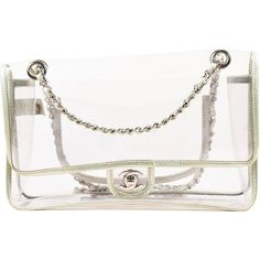 "Chanel Clear PVC Silver Tone Metallic Chain Strap ""Naked"" Flap Bag (€1.287) ❤ liked on Polyvore featuring bags, handbags, shoulder bags, chanel shoulder bag, clear hand bags, chanel handbags, shoulder handbags and metallic handbags"