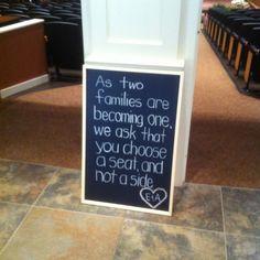Don't pick sides, pick a seat wedding sign!