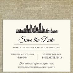Philadelphia Skyline Destination Save the Date | Pixie Chicago