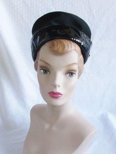 1960's Vintage Black Patent Leather Mod Hat by MyVintageHatShop, $35.00