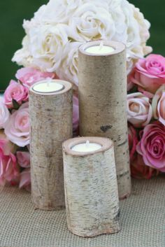 Birch Candles Rustic Wedding Decor by braggingbags on Etsy