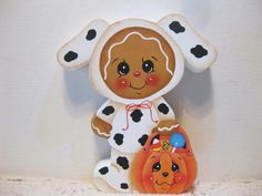 HP Gingerbread dalmation puppy trick or treater SHELF SITTER hand painted USA