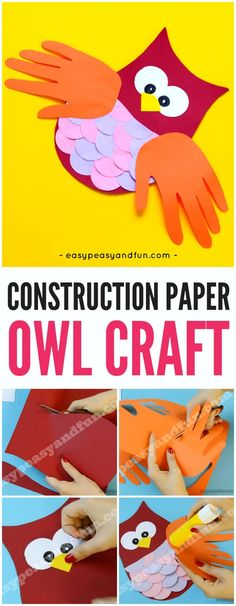 Cute Construction Paper Owl Craft for Kids to Make. Fun fall craft idea.