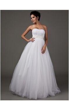 A-line Sweetheart Strapless Floor-length Tulle Wedding Dress
