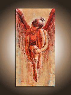 Fallen Angel II HUGE ANGEL painting por Painting4YourSoul en Etsy