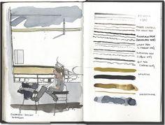 Ink sample sketchbook