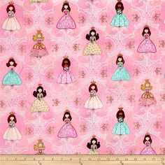 Royal Princess Princess & Filagree Light Pink from @fabricdotcom  Designed by Dan Morris for Quilting Treasures, this cotton print fabric is perfect for quilting, apparel and home decor accents. Colors include pink, yellow, tan, blue and brown.