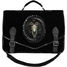 Satanic Goat Velvet Satchel ($60) ❤ liked on Polyvore featuring bags, handbags, purses, accessories, skull handbag, long strap handbags, skull purse, embellished handbags and skull hand bags