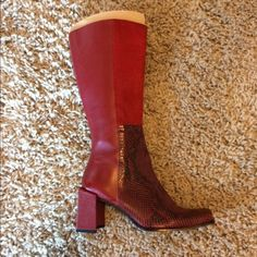 Spotted while shopping on Poshmark: Red leather boots with snakeskin at toe! #poshmark #fashion #shopping #style #Shoes