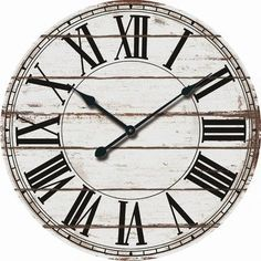Two integrated hooks allow you to quickly and securely hang the clock. The clock uses a single AA battery, so no electricity is needed. Farmhouse, french country, and rustic style. Rustic White Wood Over-sized Wall Clock. White Wall Clocks, Rustic Wall Clocks, Wood Clocks, Large Wall Clocks, Tabletop Clocks, Metal Clock, Large Clock, Rustic Wood Walls, Wooden Walls