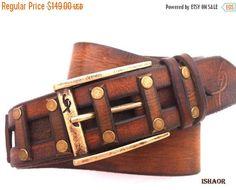 20% SALE Gold Stud Brown Leather Belt, Designer Belt, Mens Belt, Buckle Belt, Steampunk Belt, handmade for Men