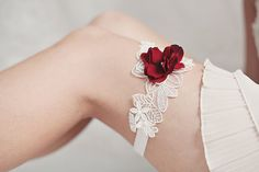 Bridal Garter. Red Velvet and Vintage Lace Garter. $48.00, via Etsy. by allaboutromance on etsy, Dust Team Australia