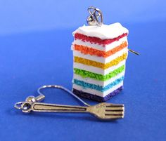 Rainbow Cake Slice with Fork Earrings by MotherMayI on Etsy, $15.00