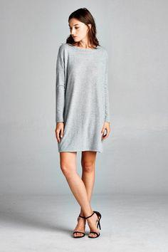 Boxy Fit, Long Sleeve, Round Neck Dress