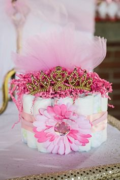 Princess Baby Shower Cake Table Details Princess Baby Shower Ideas / Cake / Center Piece / Pink / Gold / Glitter / Diapers / Shoes / Backdrop / Carriage / Royal / Alyssa