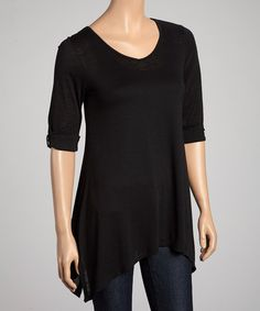 Take a look at this Black Scoop Neck Sidetail Top by Chris & Carol on #zulily today!...with the cute red bow belt