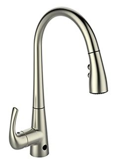 MiKitchen FTHF-02BN Touchless Kitchen Faucet with Sensor Activated Pull Down Sprayer, Brushed Nickel -- See this awesome image @ http://www.amazon.com/gp/product/B014IC3IMM/tag=homeimprtip08-20&yx=130716042147