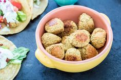 I love this crispy baked falafel recipe. I eat them as an appetizer, in a pita with green sauce or even on pizza.