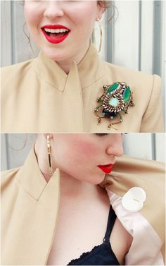 Kelly Framel of The Glamourai shares a brilliant tip to keep heavy brooches from ruining your clothing: use a foam makeup sponge to stabilize the back!