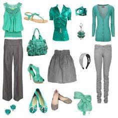 outfit en gris y verde.