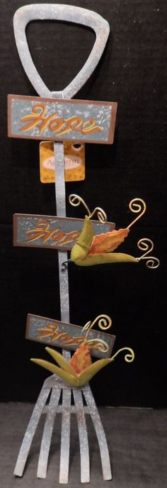 """$24.98/ Metal Rake says """"Hope"""" ~Inspirational hanging wall art ~Country Farm Garden home decor  ~~see over 20 categories of merchandise in my store. SHIPPING IS ALWAYS FREE in the USA; I do ship globally.  www.shellyssweetfinds.com"""