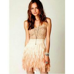 Free people feather dress Free people ombre feather dress. Sheer lace top. Clasp back, mirror embellishments,  adjustable straps, raw edge fabric pieces for feather look. Sheer lace top, lined bottom. Retail $ 248, sold out online. Free People Dresses