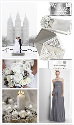 OKAY... I may be sold on this winter wedding thing :) Image Detail for  Colour Pallets  Winter Wedding : silver, white, grey