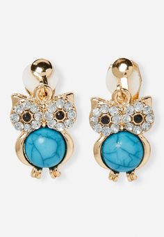 Turqoise Owl Clip-On Earrings