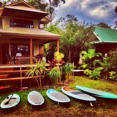 Beach house and surf boards #sup #paddleboard #standuppaddle