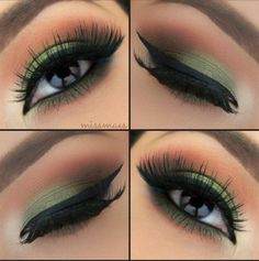 simple wearable military green eye shadow with bold black eye liner
