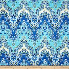Waverly Palace Sari Slub Prussian Turquoise and Blue Fabric