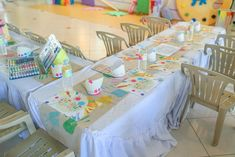 Vince and Chloe Art Attack Party - Kiddie table Rainbow Art, Party Themes, Chloe, Toddler Bed, Arts And Crafts, Table, Home Decor, Child Bed, Decoration Home
