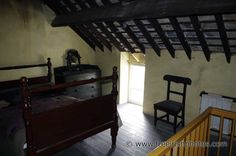 old_irish_house_bedroom. Forest Cottage, Old Cottage, Rustic Houses, Roof Ceiling, Old Irish, House Interiors, Home Bedroom, Playboy, Queen