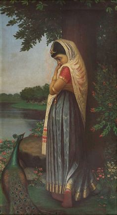 Indian woman with a peacock