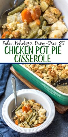 This chicken pot pie casserole is the the perfect casserole recipe when you're wanting something hearty and comforting. It's a paleo and dairy free twist on the classic pot pie flavors you know and love with a grain free crust, and is Dairy Free Recipes, Whole Food Recipes, Diet Recipes, Healthy Recipes, Paleo Casserole Recipes, Recipes For Casseroles, Dairy Free Keto Meals, Whole 30 Easy Recipes, While 30 Recipes