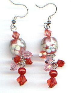 Glas-Ohrhänger, Ohrringe im Murano-Stil (rot)