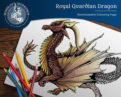 Highly-Detailed Dragon Coloring Page, Fantasy Art, Hand-Rendered, Digital Download