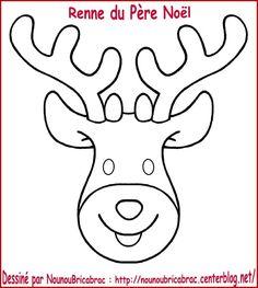 Tête du Renne du Père Noël... à colorier et à fabriquer