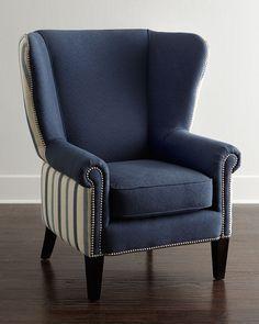 Gillian Chair, Dark Blue - Neiman Marcus
