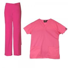 Dickies Unisex Set in Shocking Pink. The Dickies Unisex Set consists of the Dickies Unisex Scrub Top and the Dickies Unisex Drawstring Trousers. The top features a generous fit making it extra comfortable and two front pockets. The trousers feature an elasticated drawstring waist and a number of pockets to store all your belongings. £34  #nursescrubs #dentistuniform #nurses #dentists #pinkscrubs