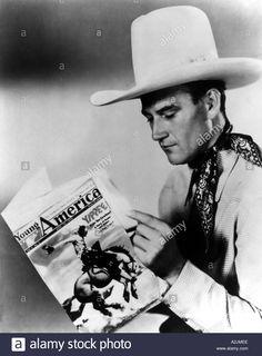 John Wayne Us Actor Reading Young America Magazine Dated August 1935 Stock Photo, Royalty Free Image: 3439853 - Alamy