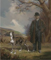 Henry Basebe, 19th/20th Century  Portrait of Clarence Hailey Esq., standing full-length, with his greyhound, at Newmarket