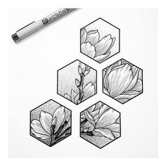Draw flower in pencil first, add geometric shapes, ink only in the shapes, erase pencil lines Drawing Sketches, Art Drawings, Drawing Ideas, Unique Drawings, Wall Drawing, Graffiti Art, Pen Art, Doodle Art, Art Inspo
