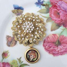 Gold Rhinestone Peony Brooch Memory Locket by MoniquesBijouxStudio