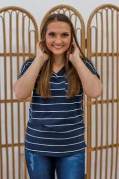 Navy Striped Shirt - UOIOnline.com