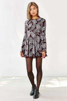 Ecote Sascha Bell Sleeve Dress - Urban Outfitters