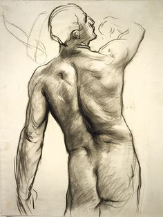 John Singer Sargent - Standing Male Nude with Raised Right Arm Seen from Behind
