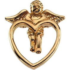 14K Yellow Gold Angel Lapel Pin >>> Want to know more, click on the image.