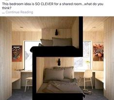 Bunk beds design and room ideas. Most amazing bunk beds for kids. Designing bunk beds that you might like. Sibling Bedroom, Siblings Sharing Bedroom, Bedroom For Twins, Shared Bedroom Kids, Attic Bedroom Kids, Twin Room, Kid Bedrooms, Student Room, Student House